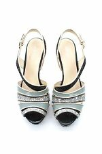 Miu Miu Multi-Strap Glitter Platform Sandals / Metallic,Blue,Black / RRP: £680