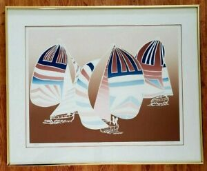 Lawrence-Lerfald-REGATTA-Sailboat-Race-Signed-Ltd-Ed-Etching-Embossed-Lithograph
