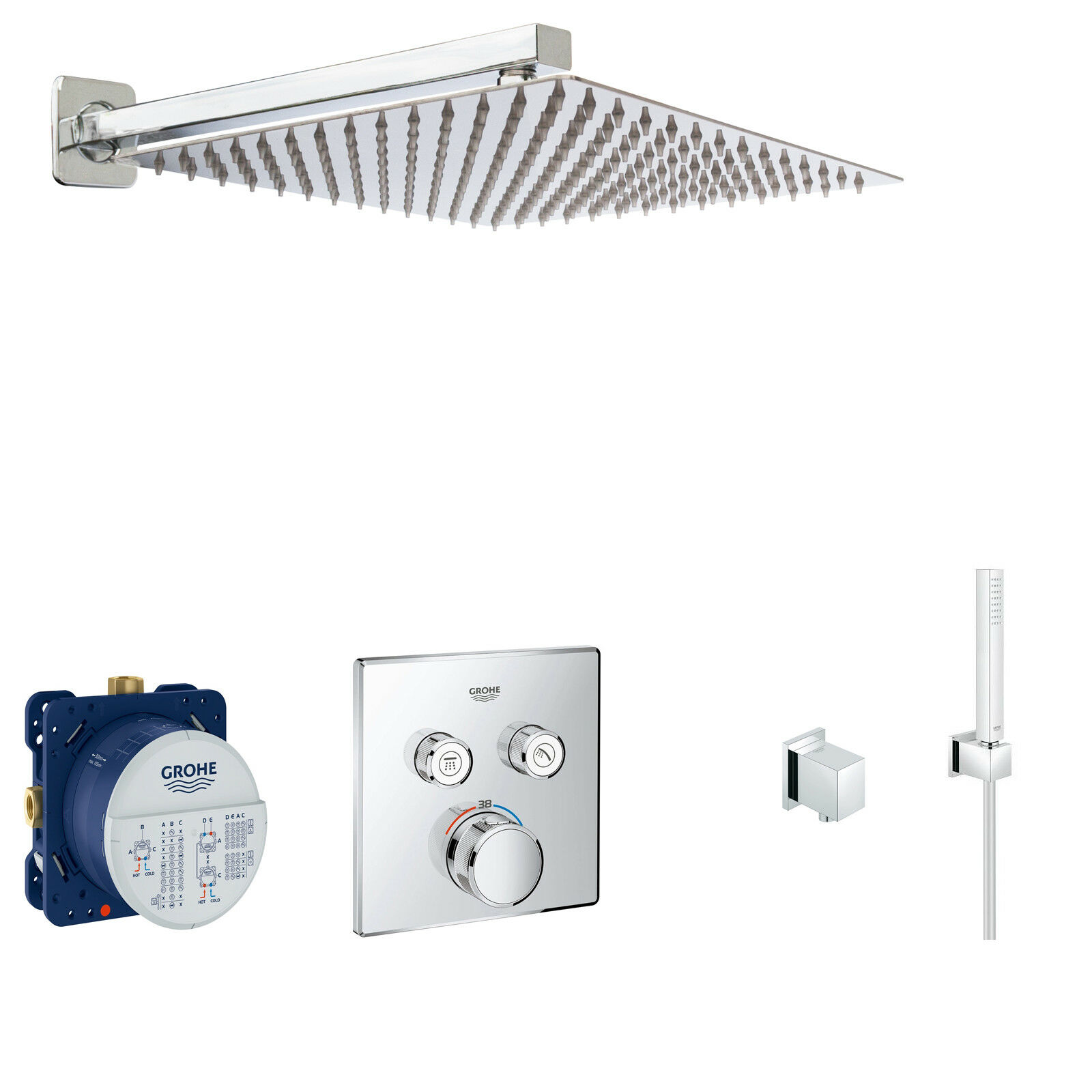 GROHE SmartControl Unterputz Duschsystem Grohtherm Thermostat Kopfbrause A36