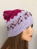 Beanie Slouch Hand Knit Designer Fashion Purple Hip Chic Winter Ski