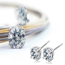 1 Pair Silver Crystal Rhinestone Round Studs Earrings Fashion Women Jewelry