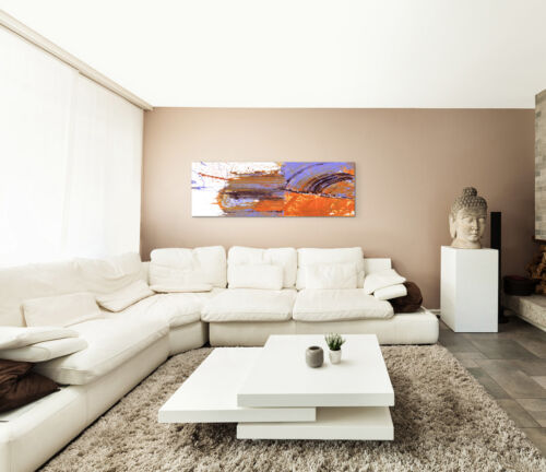 Leinwandbild Panorama orange lila braun weiß Paul Sinus Abstrakt/_669/_150x50cm
