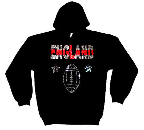 any size ENGLAND RUGBY  RHINESTUD HEAVYWEIGHT  HOODY  HOODIES