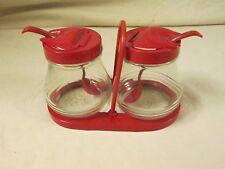 VINTAGE Federal Tool, Hazel Atlas CONDIMENT JARS & SPOONS Red Plastic,Jelly