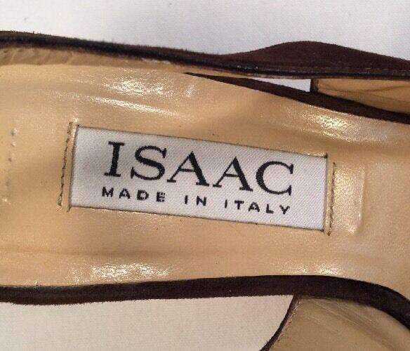 DESIGNER ISAAC MIZRAHI SLINGBACK braun SUEDE PUMPS HIGH KITTEN KITTEN KITTEN HEEL SZ 5.5 ITALY d33989