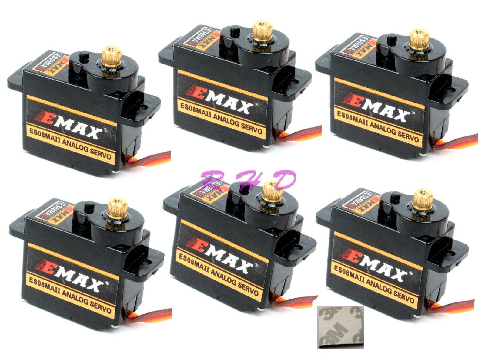 6x EMAX ES08MA 12g 2.0kg Mini Metal II Gear Servo de alta velocidad de actualización mg90 3M Ta