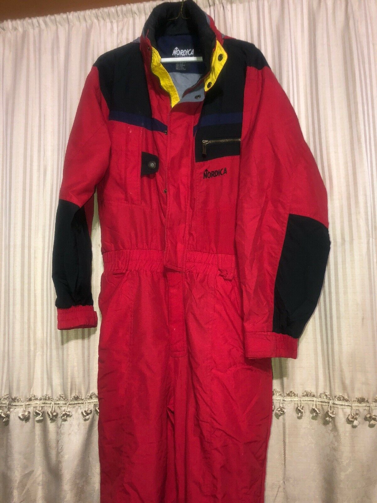 NORDICA Red Multicolor One Piece SKI SUIT vtg 80s  90s Hoody Bib Snowsuit Sz S P  choices with low price