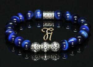 Tigerauge-blau-Armband-Bracelet-Perlenarmband-Silber-Beads-8mm