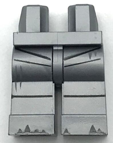 Lego New Flat Silver Pants Hips and Legs Black Seams Rivets Dark Bluish Gray