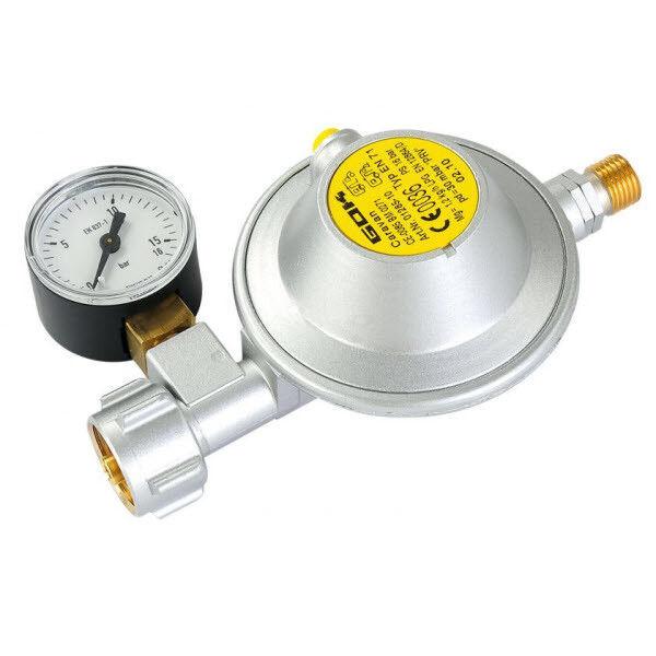 GOK Gasregler mit Manometer Typ EN71, 30 mbar, 1,2 kg/h