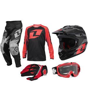 Ninos One Industries Motocross Kit Pantalones Jersey Guantes Casco Gafas Rojo Ebay