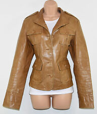 Vintage Brown Leather WE Semi Fitted Button Hips Length Blazer Jacket Size L