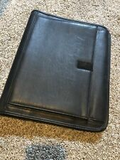 Leather Business Padfolio Portfolio Folder Organizer Notebook Black Zip Up