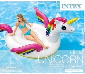 Intex Giant Inflatable Magical Mega Unicorn Island Ride On Swimming Pool Float