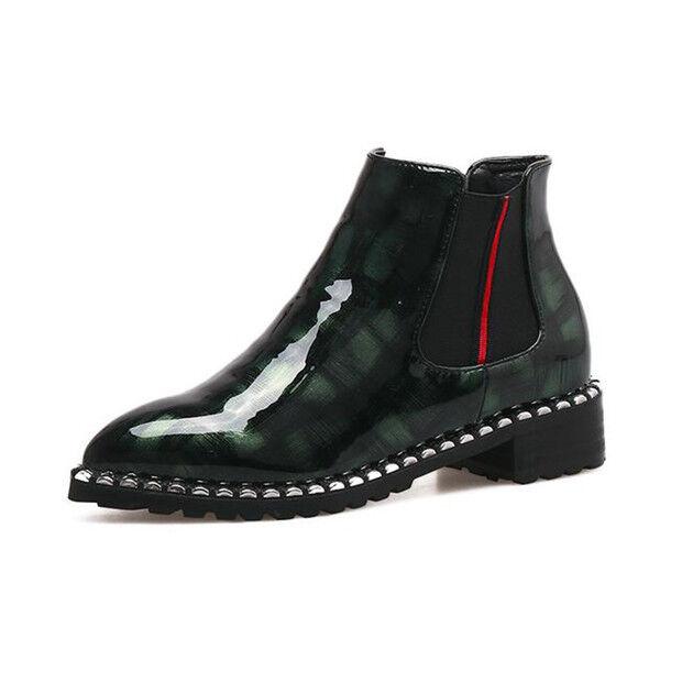stivali stivaletti bassi scarpe anfibi 4 cm nero verde eleganti simil pelle 9147