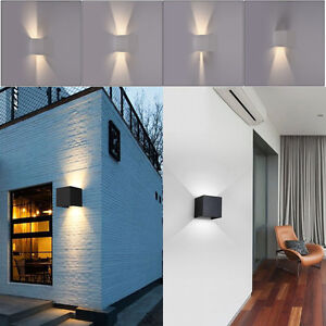 Modern 7w modern led wall light up down cube indoor outdoor sconce image is loading modern 7w modern led wall light up down aloadofball Gallery