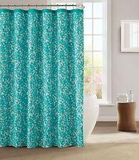 Kensie Aqua Teal White Decorative Modern Chic Fabric Shower Curtain