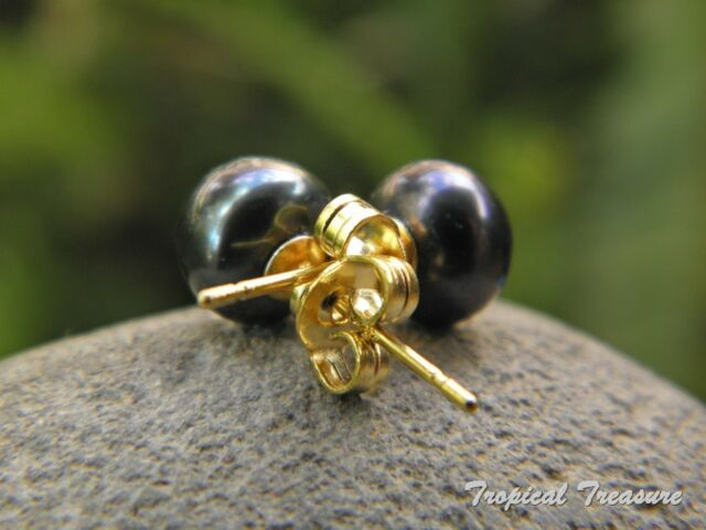 7-8mm BLACK Pearl Earring Studs- 18k Gold Plated 925 SOLID Sterling Silver