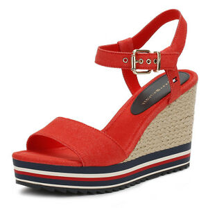 6bba215bd Image is loading Tommy-Hilfiger-Womens-Red-amp-Black-Wedge-Sandals-