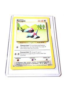 PORYGON-Base-Set-39-102-poco-frecuentes-tarjeta-de-pokemon-edicion-ilimitada-casi-Nuevo
