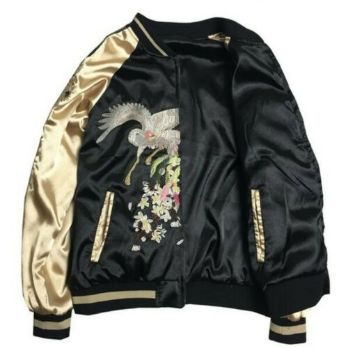 Mens Sukajan Jackets Japanese Style Embroidery Ukiyo-e Loose Youth Casual Coats