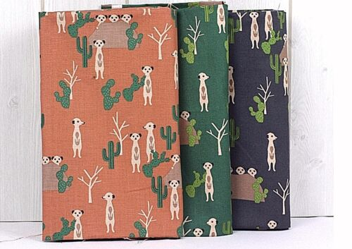 Desert Meerkat 100/% Cotton Fabric Green Animal Cactus Quilting offcuts JC8//49