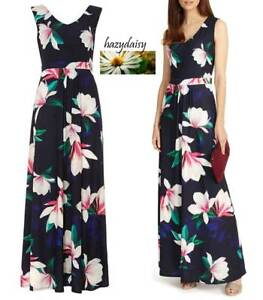 Details about Phase Eight ladies navy blue jersey magnolia print maxi dress 10 12 summer