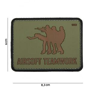 Airsoft Travail D'équipe Vert #16066 Patch Velcro Airsoft Paintball Tactical-afficher Le Titre D'origine Soyez Astucieux Dans Les Questions D'Argent