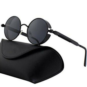 6a9514f716 Image is loading Retro-Polarized-Steampunk-Sunglasses-Men-039-s-Round-
