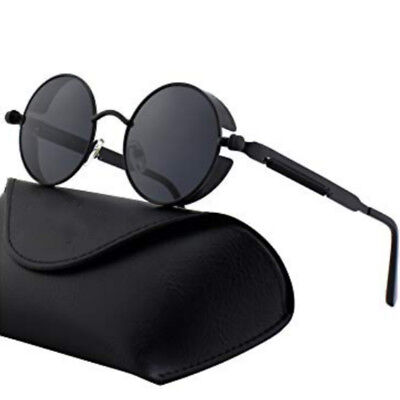 Polarized Steampunk Sunglasses Men UV400 Round Mirrored RetroSunglasses