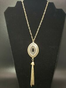 Gorgeous Boho Vintage Dangle Long Gold Tone Necklace