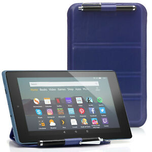 Oxford-Blue-Protective-Pouch-Case-Cover-amp-Stylus-for-Amazon-Fire-7-HD-8