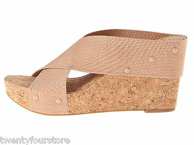 NEW $80 Lucky Brand Jeans Miller 2 Wedge Cork Shoes in Blush Champagne sz 9