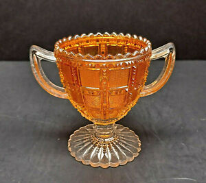 VINTAGE IMPERIAL FROSTED BLOCK MARIGOLD CLEAR CARNIVAL GLASS OPEN SUGAR BOWL!