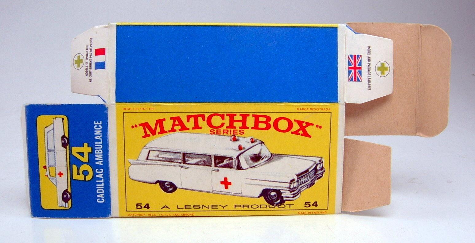 Matchbox Rw 54b Cadillac Ambulance empty original  e2  Box Top