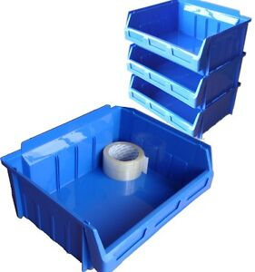 10 x SIZE 4 BLUE PLASTIC STORAGE STACKING BINS BOXES