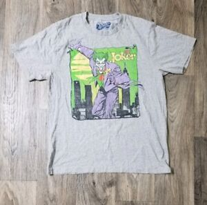 Mens-DC-Comics-The-Joker-Villain-Gray-Green-Purple-Batman-Cartoon-Show-T-Shirt-L