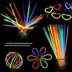 """100x 8/"""" Glow Sticks Bracelets Necklaces Party Favors Neon Colour 100 Connectors"""