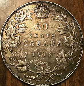 1913-CANADA-SILVER-50-CENTS-Excellent-example