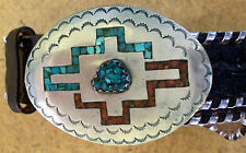 Western Men's Belt Leather Oval Turquoise Stone Black Belt 34
