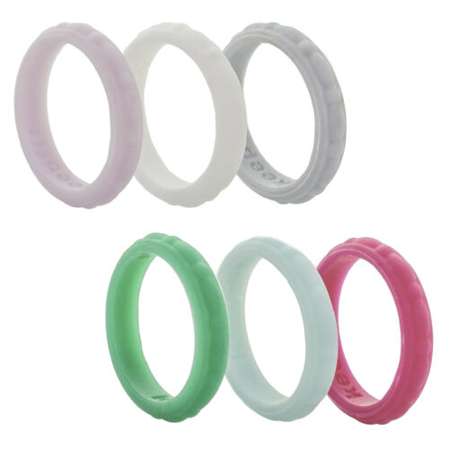 Jewel Stackable Silicone Wedding Ring Women Rubber Engagement Band Flexible