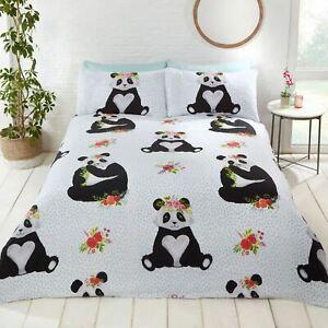 Pandas-Double-Housse-de-Couette-et-Taie-D-039-Oreiller-Set-Chambre-Garcons-Filles