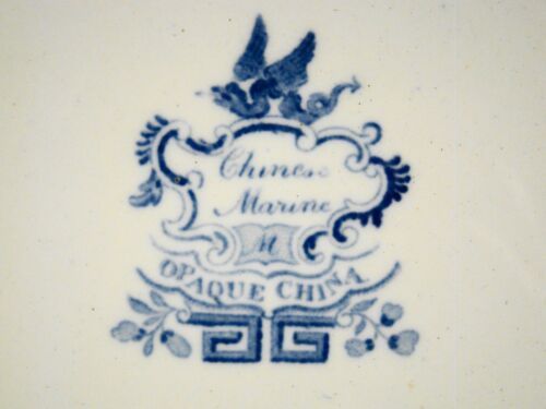 """Antique Minton Blue Transfer Chinese Marine Dinner Plate 10 1//2/"""" 1822-1836"""