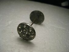 """Vintage Silver Tone Stick Pin with Rhinestones, Wheel-like End Caps - 1.5"""""""