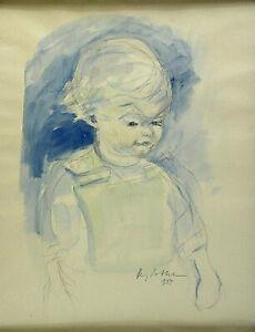 Firmata-e-datata-1954-bambini-Portrait-prima-sfondo-blu