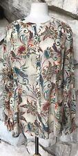 Sundance Catalogue Multicolor Paisley 100% Silk Semi-Sheer Tunic Blouse Top  XL