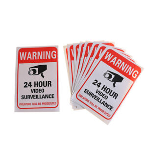 10Pcs-Home-CCTV-Surveillance-Security-Camera-Video-Sticker-Warning-Decal-Sign-OJ