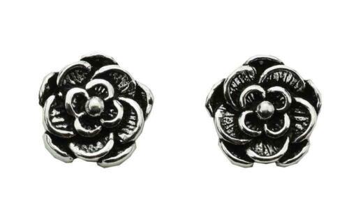 Tudor Rose estilo plata esterlina sólida pendiente postes 925 Estampado Joyas Regalo