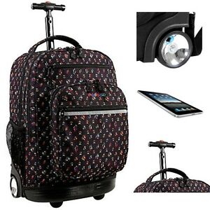 Image Is Loading Large Backpack Rolling Book Bag Laptop Womens Carry