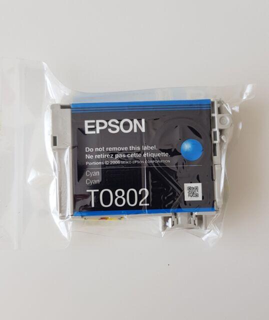 Genuine Original Unused & Vacuum Sealed Epson T0802 Ink Cartridge Set - Cyan
